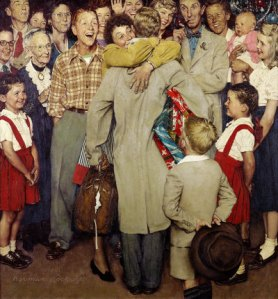 """Christmas Homecoming"" by Norman Rockwell, Saturday Evening Post Cover"